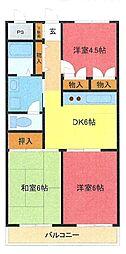 埼玉県さいたま市中央区大戸6丁目の賃貸マンションの間取り