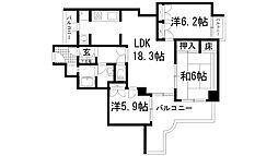兵庫県宝塚市社町の賃貸マンションの間取り