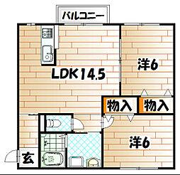 福岡県北九州市八幡東区石坪町の賃貸アパートの間取り