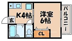 広島県広島市安芸区中野3丁目の賃貸アパートの間取り