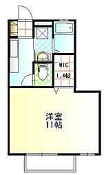 茨城県常総市内守谷町きぬの里2丁目の賃貸アパートの間取り