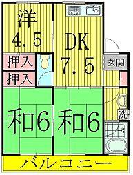 コーポKIKU A棟[2階]の間取り