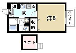 近鉄奈良線 近鉄奈良駅 バス9分 南方町下車 徒歩4分の賃貸アパート 2階1Kの間取り