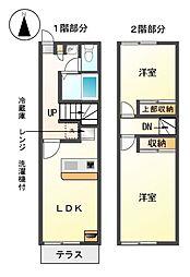 愛知県半田市上池町2丁目の賃貸アパートの間取り