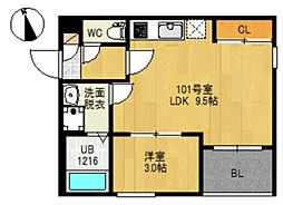 JR仙石線 榴ヶ岡駅 徒歩17分の賃貸アパート 2階1LDKの間取り