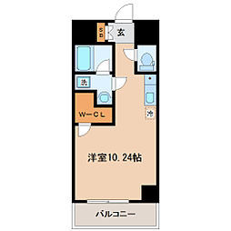仙台市営南北線 勾当台公園駅 徒歩3分の賃貸マンション 5階ワンルームの間取り