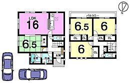 全室6帖以上のゆとりある間取り。駐車2台可能です。幼稚園・小中学校まで全て徒歩10分以内。通学が大変便利な立地です。