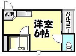 大啓ビル[2B号室]の間取り