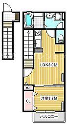 Lively K. 2階1LDKの間取り