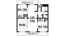 兵庫県川西市清和台東2丁目の賃貸マンションの間取り