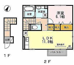 メルヴェーユ青山B[2階]の間取り