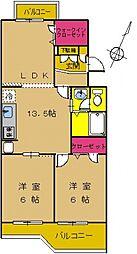 東京都町田市南つくし野3丁目の賃貸マンションの間取り