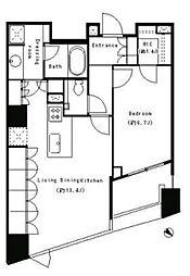 JR山手線 目黒駅 徒歩5分の賃貸マンション 11階1LDKの間取り