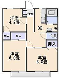 クレール矢代[2階]の間取り