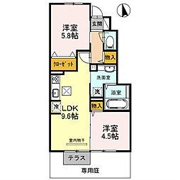 兵庫県三木市芝町の賃貸アパートの間取り