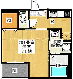 広島電鉄宮島線 草津南駅 徒歩10分の賃貸アパート 2階1Kの間取り