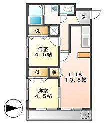 黒川M[4階]の間取り