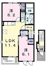 ラッフィナート桜が丘 2階2LDKの間取り