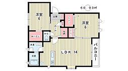 大阪府豊中市千里園3丁目の賃貸マンションの間取り
