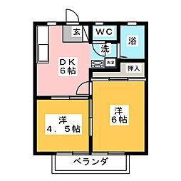 狩宿ハイツ[1階]の間取り
