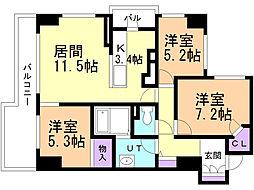 シティハウス札幌大通東 5階3LDKの間取り