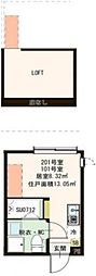 JR総武線 平井駅 徒歩9分の賃貸アパート 2階ワンルームの間取り