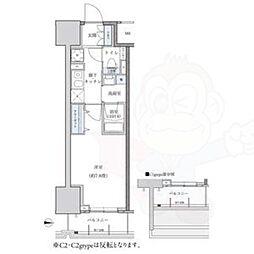 名古屋市営東山線 新栄町駅 徒歩9分の賃貸マンション 14階1Kの間取り