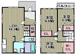 [一戸建] 大阪府貝塚市畠中2丁目 の賃貸【/】の間取り