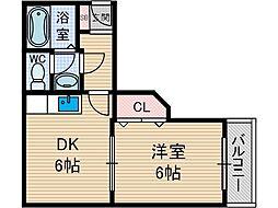 サンライズ柴田[4階]の間取り