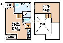 大阪府堺市堺区大浜北町3丁の賃貸アパートの間取り