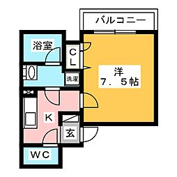 AZEST梅島 2階1Kの間取り