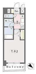ブラン東光 7階1Kの間取り
