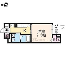 阪急京都本線 長岡天神駅 徒歩9分の賃貸マンション 4階1Kの間取り