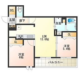 (仮称)西成区シャーメゾン千本南2丁目PJ 2階2LDKの間取り
