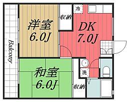 京成本線 公津の杜駅 徒歩11分の賃貸アパート 2階2DKの間取り