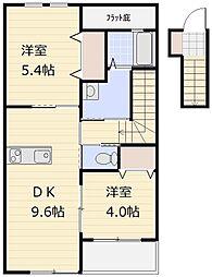 埼玉県上尾市大字向山の賃貸アパートの間取り