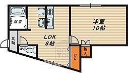 プルミエール野江 2階1LDKの間取り
