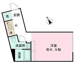 the KOISHIKAWA 1階ワンルームの間取り