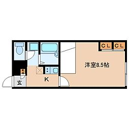 近鉄橿原線 平端駅 徒歩5分の賃貸アパート 1階1Kの間取り
