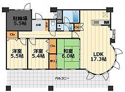 神奈川県大和市下鶴間の賃貸マンションの間取り