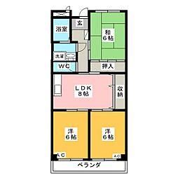 WING2号館[2階]の間取り