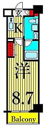東京メトロ日比谷線 三ノ輪駅 徒歩10分の賃貸マンション 3階1Kの間取り