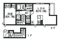 JR山手線 恵比寿駅 徒歩10分の賃貸アパート 2階1LDKの間取り