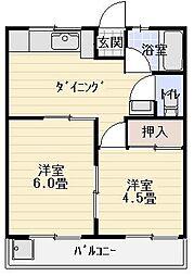 マンション紺利[206号室]の間取り