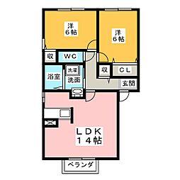 シェル ボヌールA[2階]の間取り