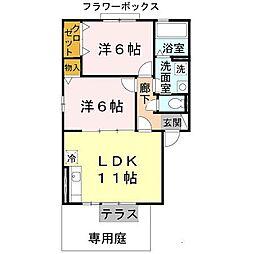 大阪府堺市西区堀上緑町3丁の賃貸アパートの間取り