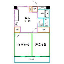 JR中央本線 西国分寺駅 徒歩4分の賃貸マンション 3階2DKの間取り
