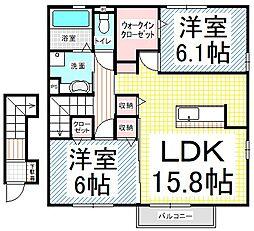 長野県長野市大字富竹の賃貸アパートの間取り