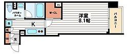 ディオレ・クレスト東心斎橋[5階]の間取り