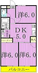 コーポカミヤI[201号室]の間取り